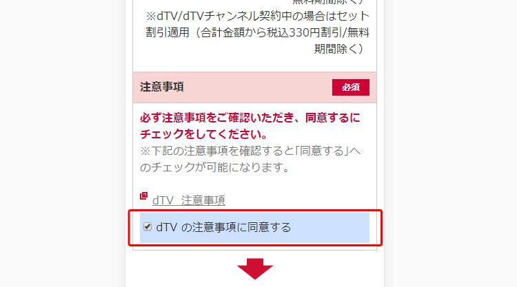 [dTVの注意事項に同意する]にチェックを入れます。